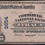 1902 Commercial National Bank of Ithaca MI $5 Charter #9654 fine for sale 9654-7942 face