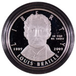 2009 P Louis Braille Bicentennial Silver Dollar Proof for sale obverse