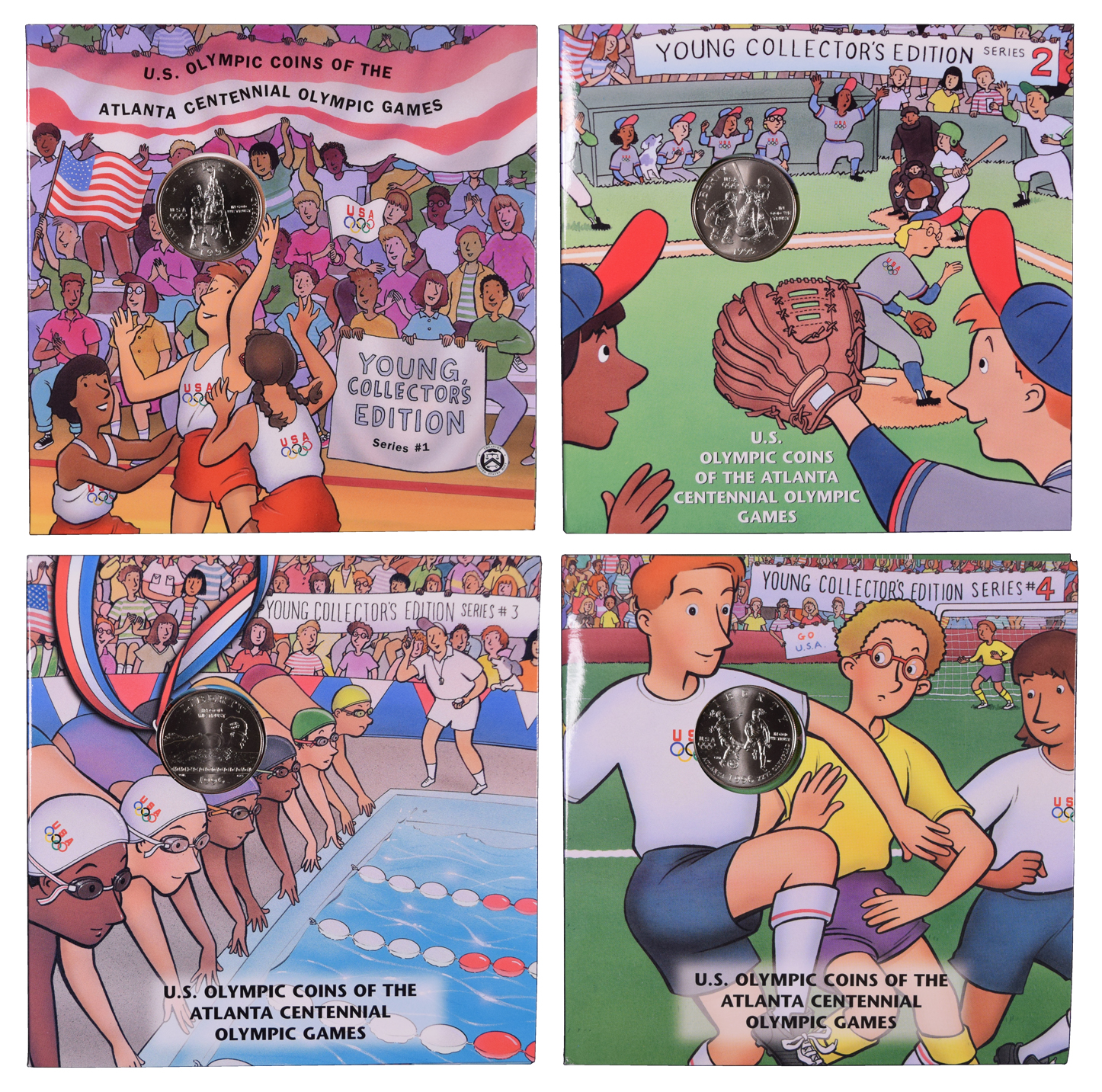 1995 US OLYMPIC COINS ATL CENTENNIAL Basketball SERIES 1 Young Collectors Ed