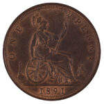 Great Britain 1891 Penny ms60 for sale F200 reverse