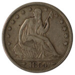 1854 Liberty Seated Half Dollar vf30 for sale w1277 obverse
