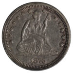 1876 CC Liberty Seated Quarter au50 for sale w1114 obverse