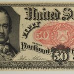Close up 1874-76 Fifth Issue 50 Cents Fractional Currency FR#1381 Ch Unc 64 EPQ PMG for sale 5-50cents face