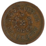 1863 Civil War Token Clarkston MI R & JT Peter Druggists ef for sale e29 obverse