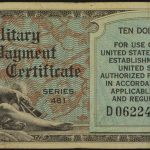 1951-1954 $10 Series 481 Military Payment Certificate f-vf 06224650 for sale face
