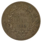 Martinique 1922 Franc fine for sale f246 reverse