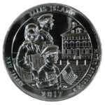 2017 Ellis Island (NJ) America the Beautiful 5 Ounce Silver Quarter uncirculated for sale reverse