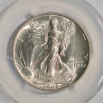 Close up 1943 Walking Half Dollar MS65 PCGS 6618.65-30805149 for sale obverse