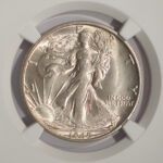 Close up 1945 Walking Liberty Half Dollar MS65 NGC 2644270-036 for sale obverse