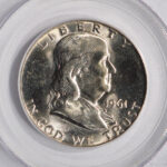 Close up 1961 D Franklin Half Dollar MS65 PCGS 6681.65-7678792 for sale obverse