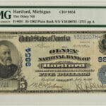 1902 $5 The Olney National Bank of Hartford, MI Charter#9854 VF20 PMG for sale y361007h face