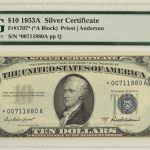 1953 A $10 Silver Certificate Star Note FR#1707star Ch Unc 63 EPQ PMG for sale 00711880a face
