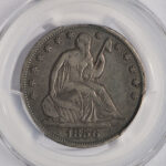 Close up 1856 S Liberty Seated Half Dollar VF25 PCGS 6289.25-35812900 for sale obverse