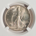 Close up 1934 D Walking Liberty Half Dollar MS64 NGC 4910049-001 for sale obverse