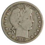 1915 Barber Half Dollar vg for sale w1796 obverse
