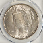 Close up 1928 S Peace Dollar MS63 PCGS 7374.63-33096809 for sale obverse