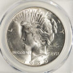 Close up 1935 S Peace Dollar MS64+ PCGS 7379.64+-35366360 for sale obverse