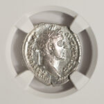 Close up Ancient Rome 138-161 AD Antoninus Pius Denarius XF NGC 1883466-027 for sale obverse