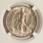 Close up 1944 D Walking Liberty Half Dollar MS66 NGC 4323634-066 for sale obverse