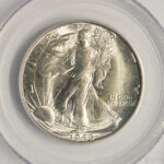 Close up 1946 D Walking Liberty Half Dollar MS65 PCGS 6628.65-21767570 for sale obverse