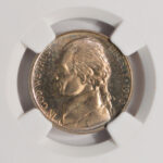 Close up 1950 Jefferson Nickel PF66 NGC 3260573-001 for sale obverse