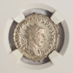 Close up Ancient Rome 238-244 AD Gordian III Antoninianus XF 4 Strike 2 Surface NGC 2400001-006 for sale obverse
