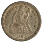 1859 O Liberty Seated Dime au55 for sale w1918tc obverse
