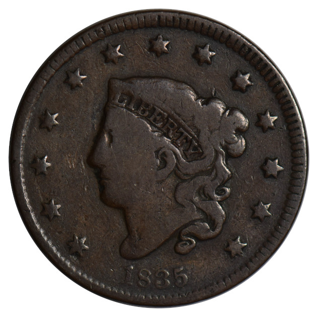 1835 Coronet Head Large Cent N-3 R3 Crack Through Top of